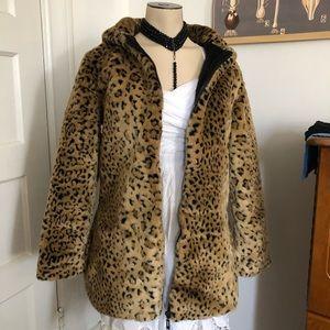 Jackets & Blazers - Leopard jacket! Hooded faux fur coat! NEW!